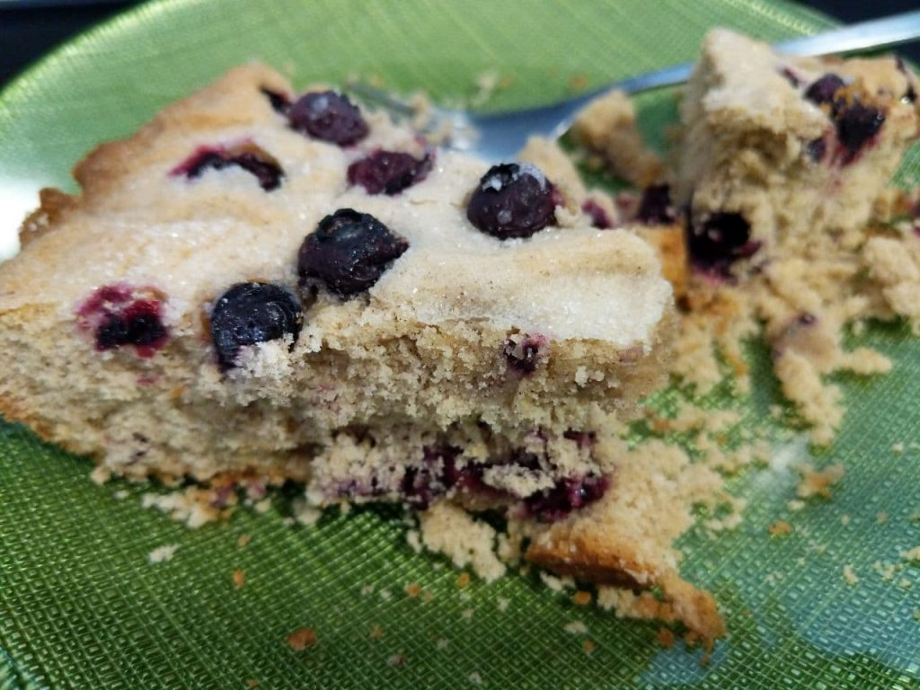 plated blueberry almond cake