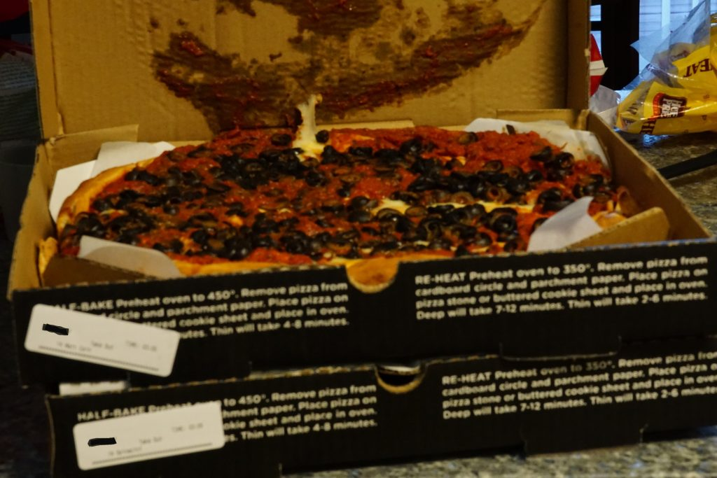 Patxi's Matt Cain pizza with added olives